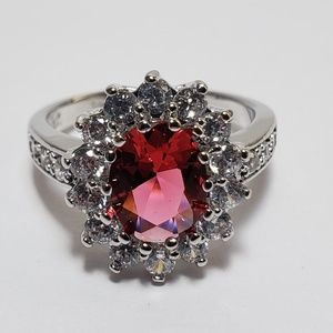 Jewelry - 14K White Gold Plated Ruby Diamond Ring Size 7